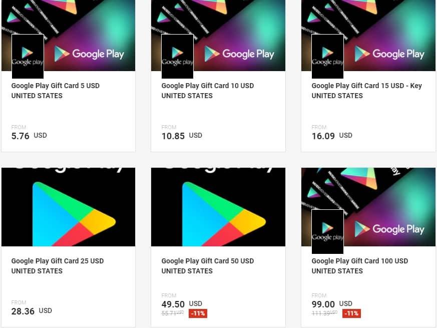 بيع بطاقات جوجل بلاي